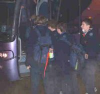 Scouts Inc PG one getting on coach for Heathrow going to Worls JAmboree in Thailand